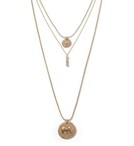 Banana Republic Layered Gold Necklace Elephant